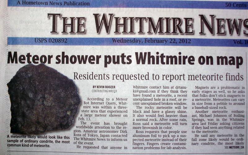 The Whitmire (South Carolina) Bolide of February 13th 2012 The search for meteorites from this fireball-meteor still continues.